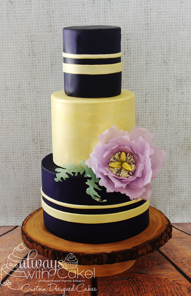 Midnight Purple and Champagne Wedding Cake