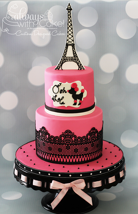 Pink Poodle in Paris Birthday Cake