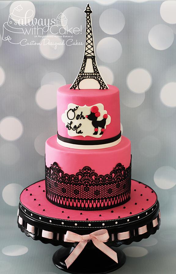 Pink Poodle in Paris Birthday Cake