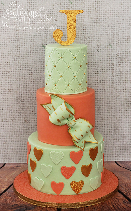 Mint and Coral Birthday Cake