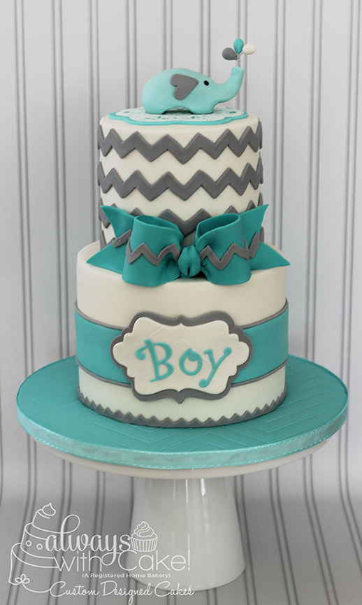 Chevron and Elephant Baby Shower Cake