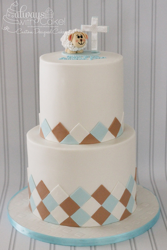 Baptism Cake w/sheep and cross