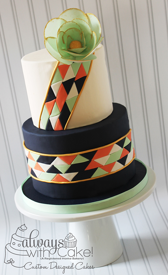 Geometric Design Birthday Cake with Wafer Paper Flower