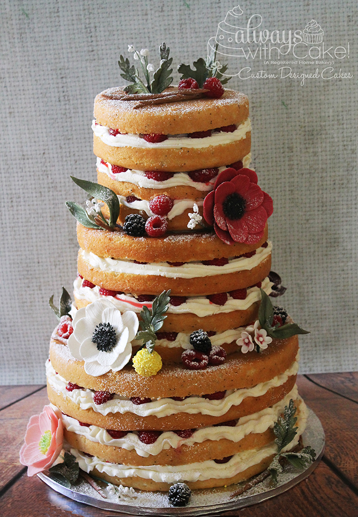 Naked Cake for Baby Shower.  Sugar Flowers