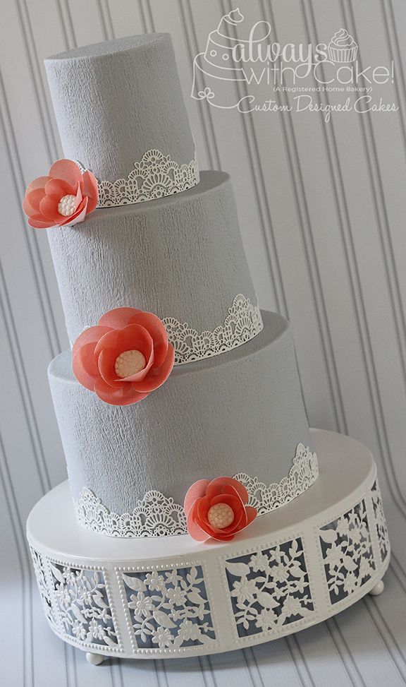 Grey and Coral Wedding Cake