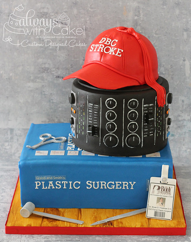 Plastic Surgeon and DJ Birthday Cake