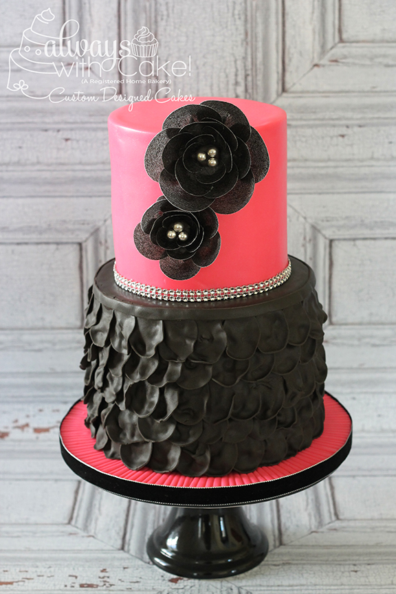Black Ruffles and Wafer Paper Flower Cake