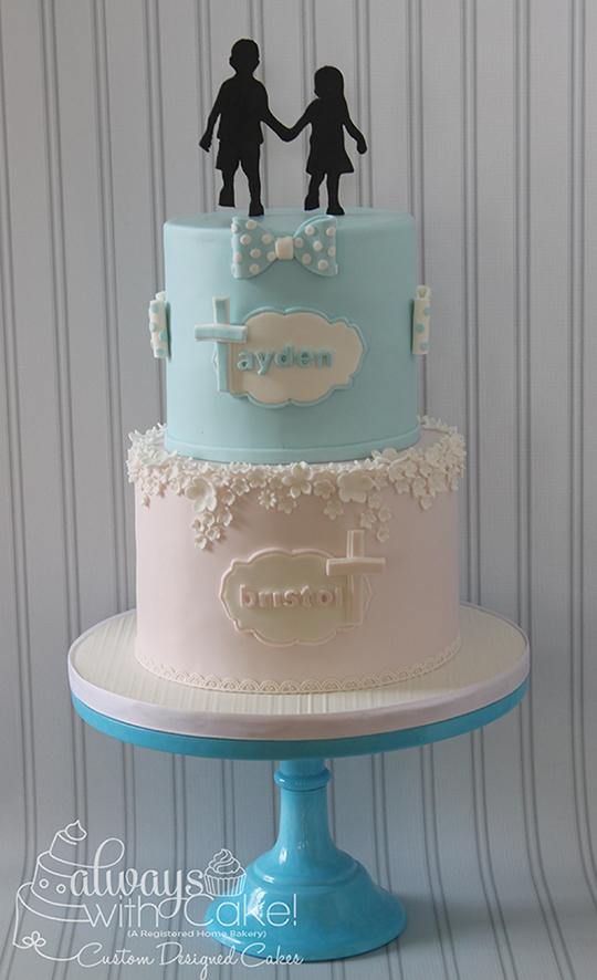 Double Baptism Cake