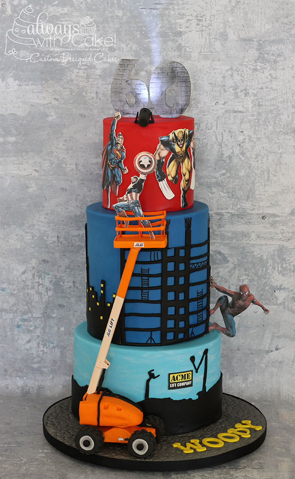 Boom Lift/Superhero 60th Birthday Cake