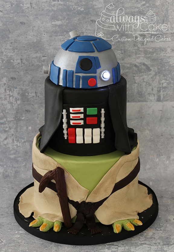 Star Wars - Yoda, Darth Vader, R2D2 Cake