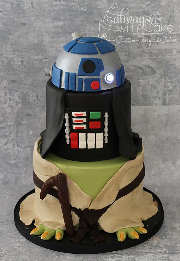 Star Wars - Yoda, Darth Vader, R2D2 Cake