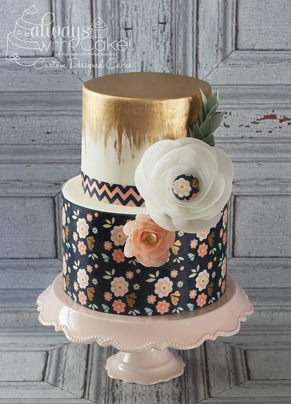 Metallic and Wafer Paper Birthday Cake
