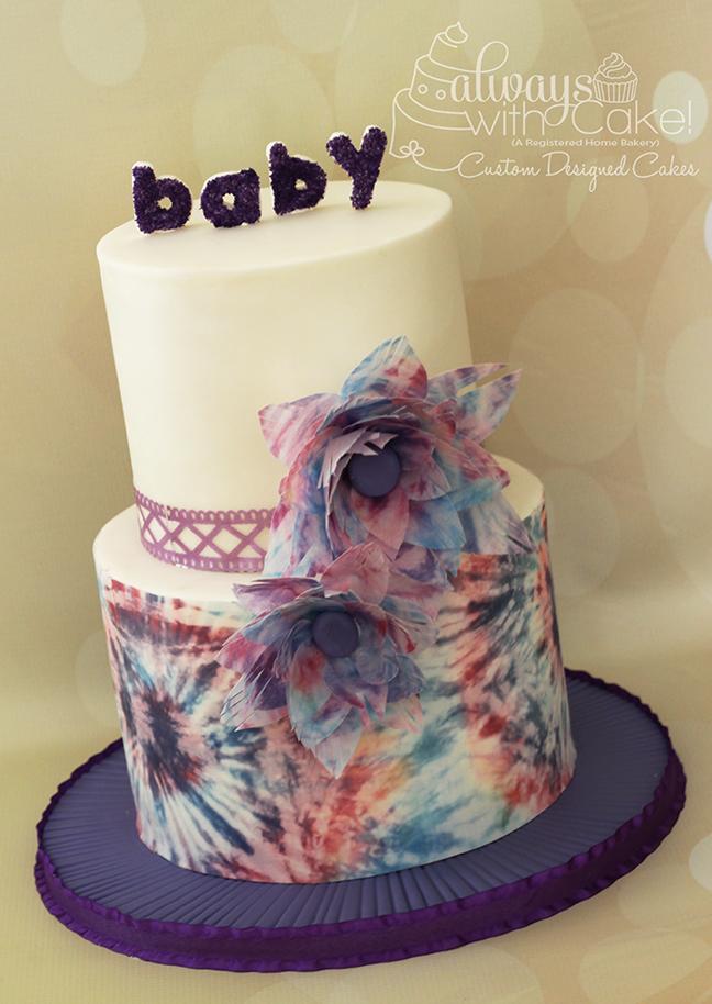 Tie Dye Wafer Paper Baby Shower Cake