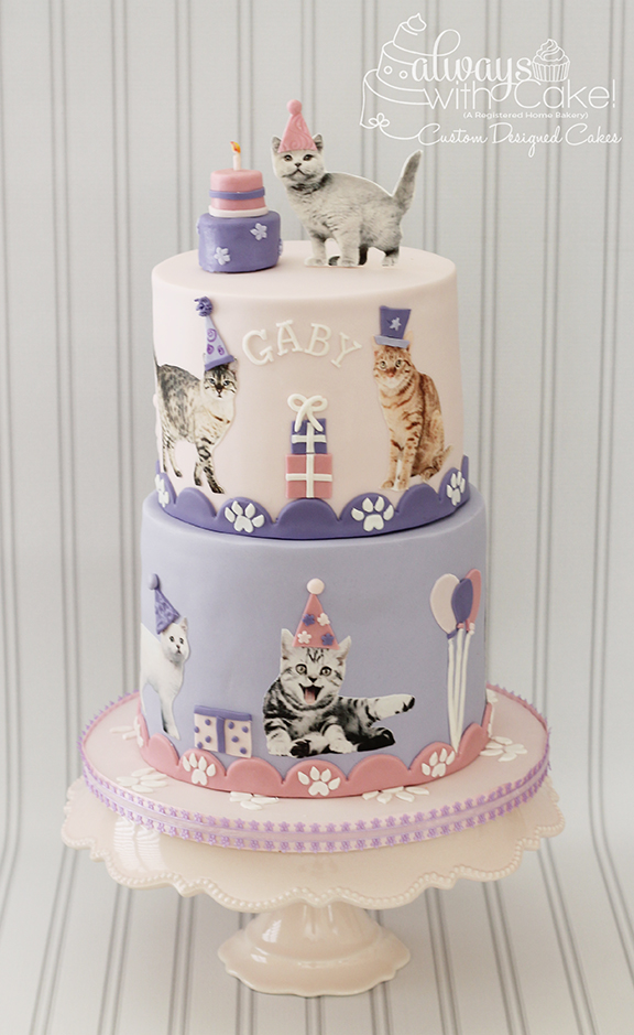 Cat Party Birthday Cake