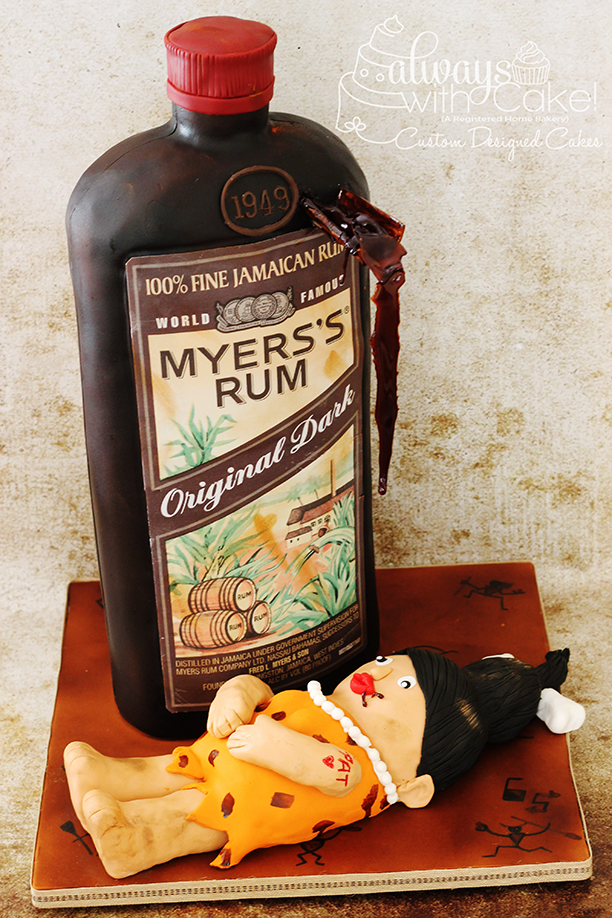 Myer's Rum Bottle w/Cave Woman