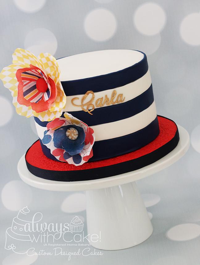 Wafer Paper Flowers & Stripes Birthday Cake