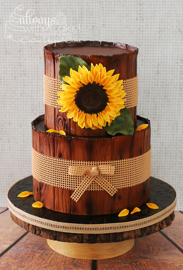 Sunflower and Burlap Birthday Cake