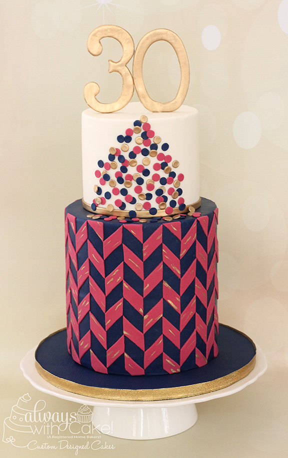 Herringbone and Polka Dots 30th Birthday Cake