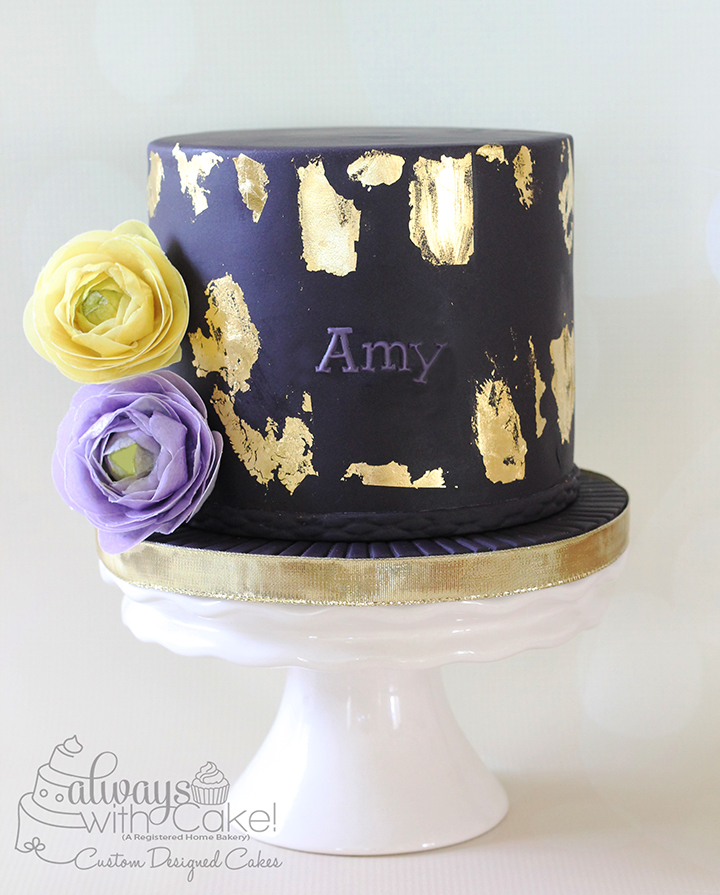 Gold Leafing and Wafer Paper Ranunculus Cake