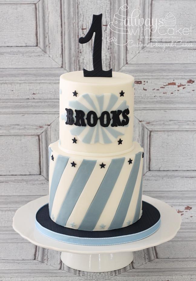 Stripes and Stars 1st Birthday Cake