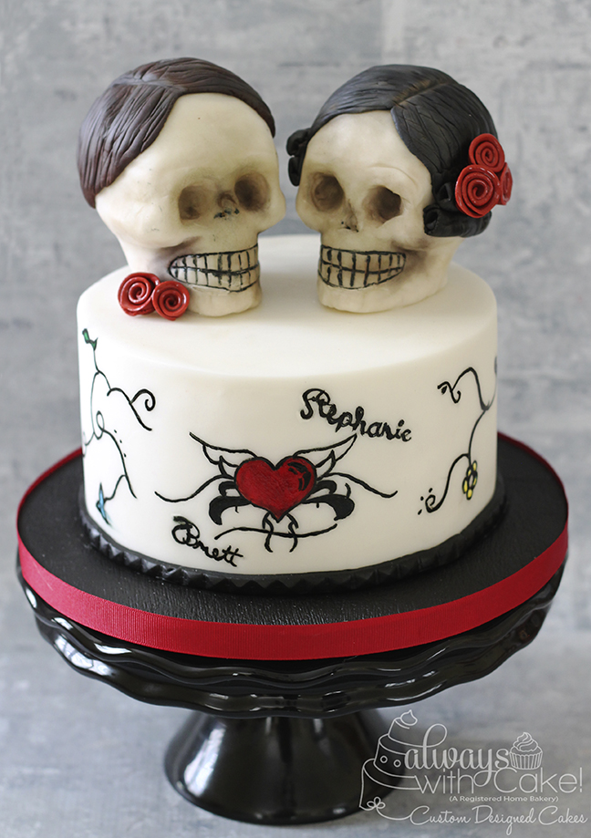 Skull and Tattoo Inspired Wedding Cutting Cake