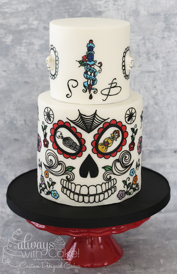 Tattoo Inspired Wedding Cake