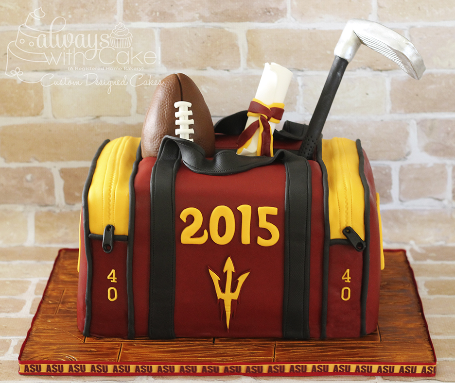 ASU Graduation and 40th Birthday Cake.  Duffle bag Cake