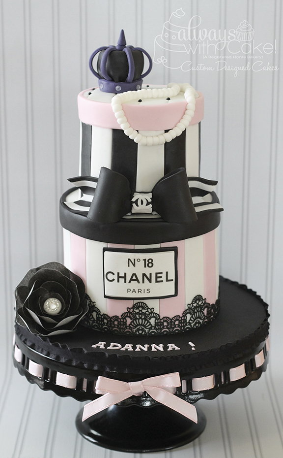 Pink White and Black Chanel Inspired Cake