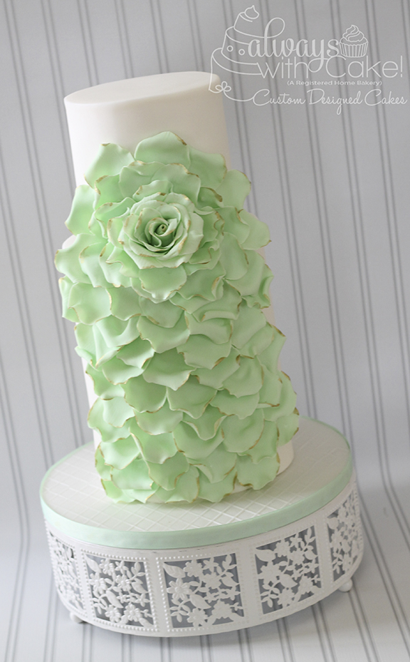 Cascading Rose Wedding Cake