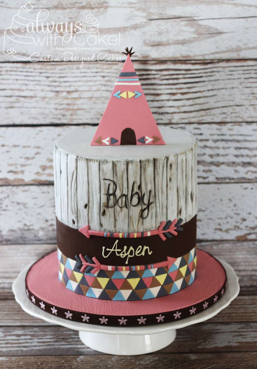 Teepee Baby Shower Cake