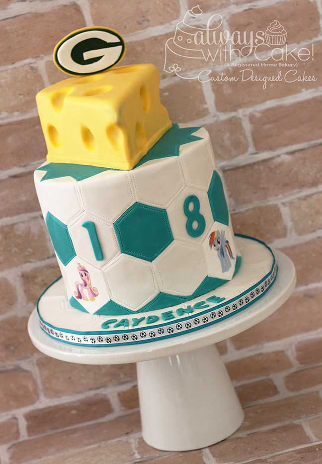 Soccer and Green Bay Packer Cake