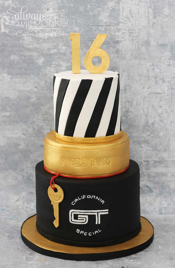 16th Golden Birthday Cake