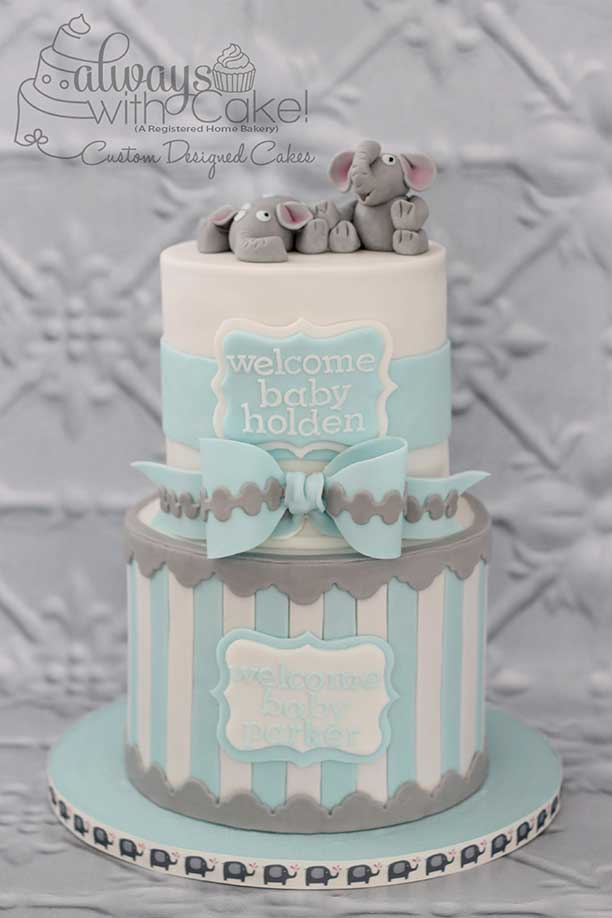 Twin's Baby Shower Cake - Elephants