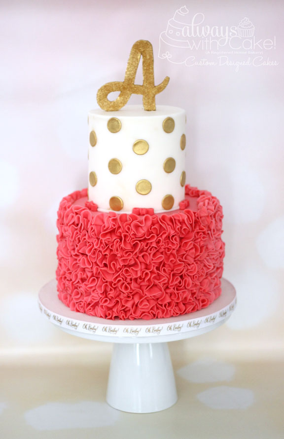 Ruffles and Polka Dot Baby Shower Cake