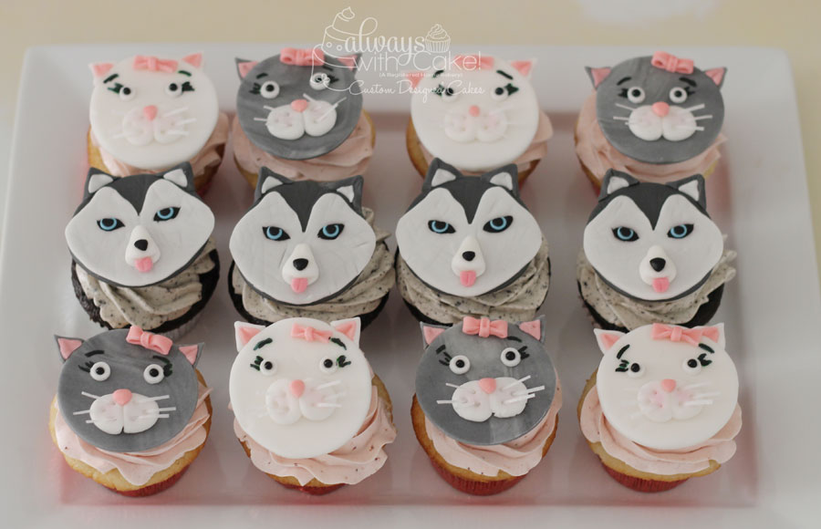 Cat and Husky Cupcake Toppers