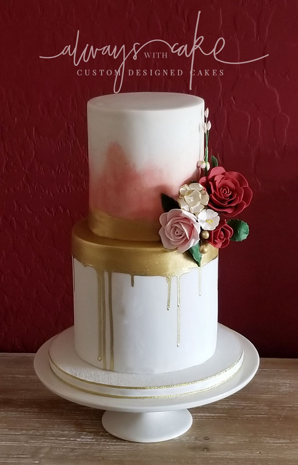 Watercolor and Gold Drip Wedding Cake