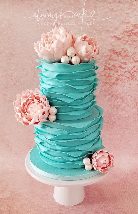 Ruffles and Peonies Cake