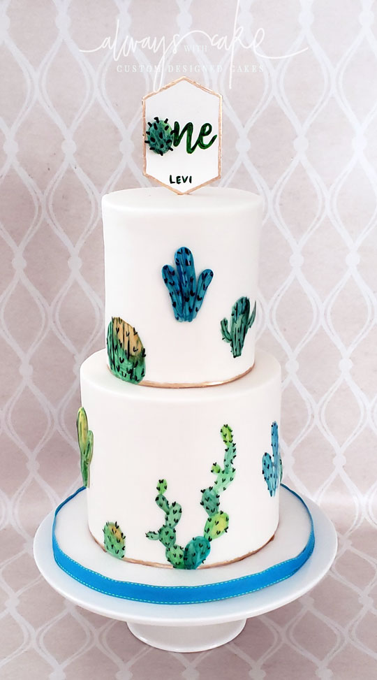 Succulent 1st Birthday Cake
