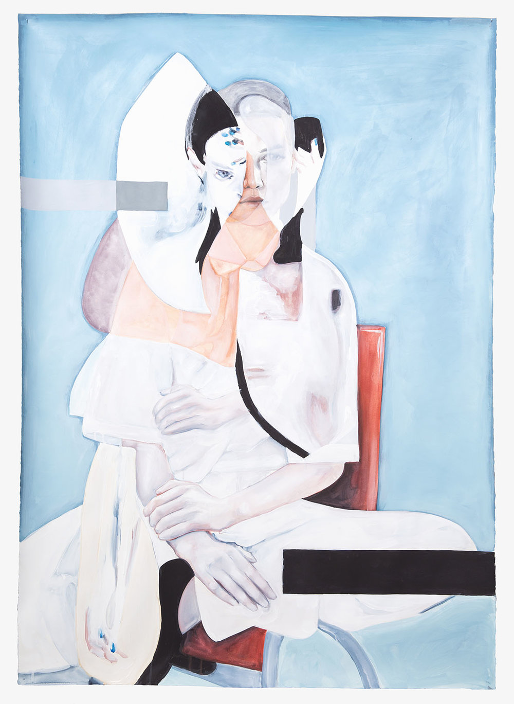 Knowing  2016, Watercolour, Gouache and Acrylic on Paper, 160 x 113 cm  SOLD