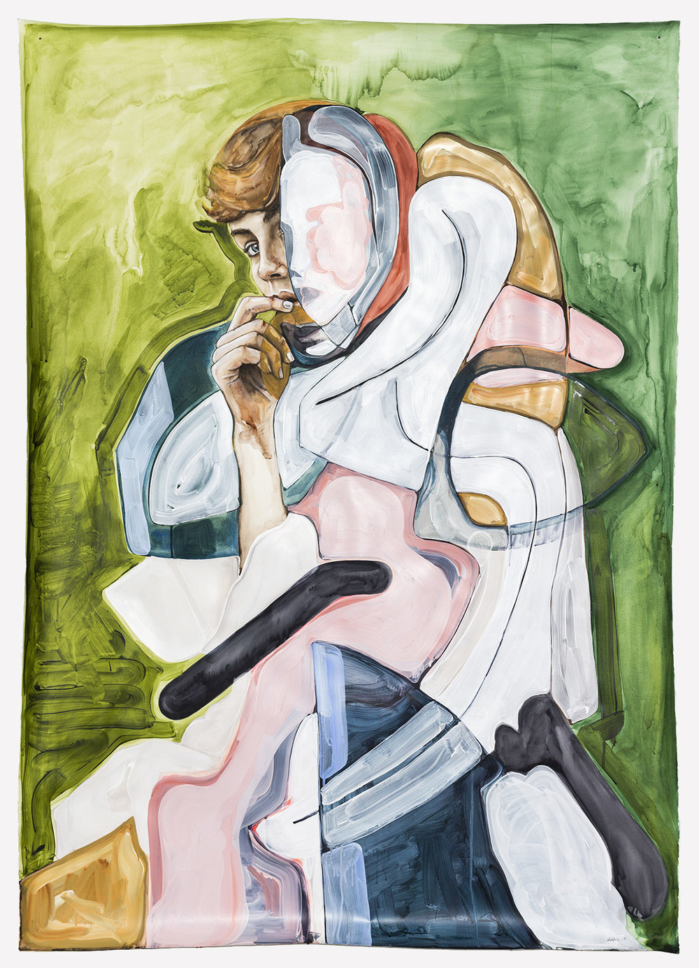 In-xcess  2017, Watercolour Gouache and Acrylic on Paper, 160 x 113 cm