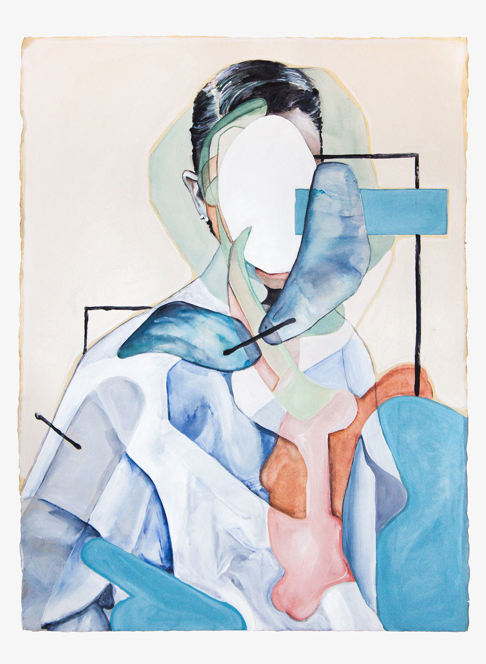 Amnesia  2017, Watercolour, Gouache and Acrylic on Paper, 56 x 76 cm  SOLD