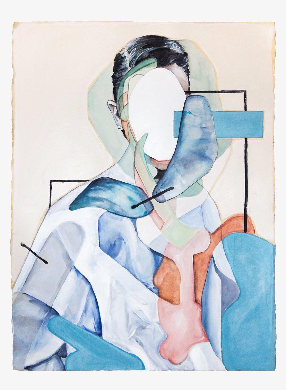 Amnesia  2017, Watercolour, Gouache and Acrylic on Paper, 56 x 76 cm