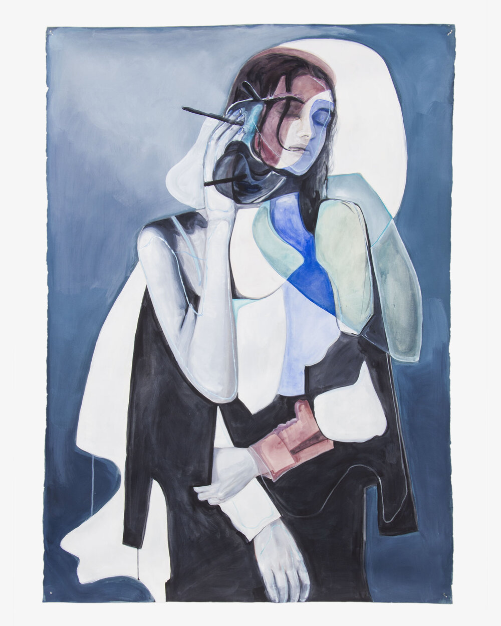 Fragmented  2015, watercolour, gouache and acrylic on paper, 160 x 113cm