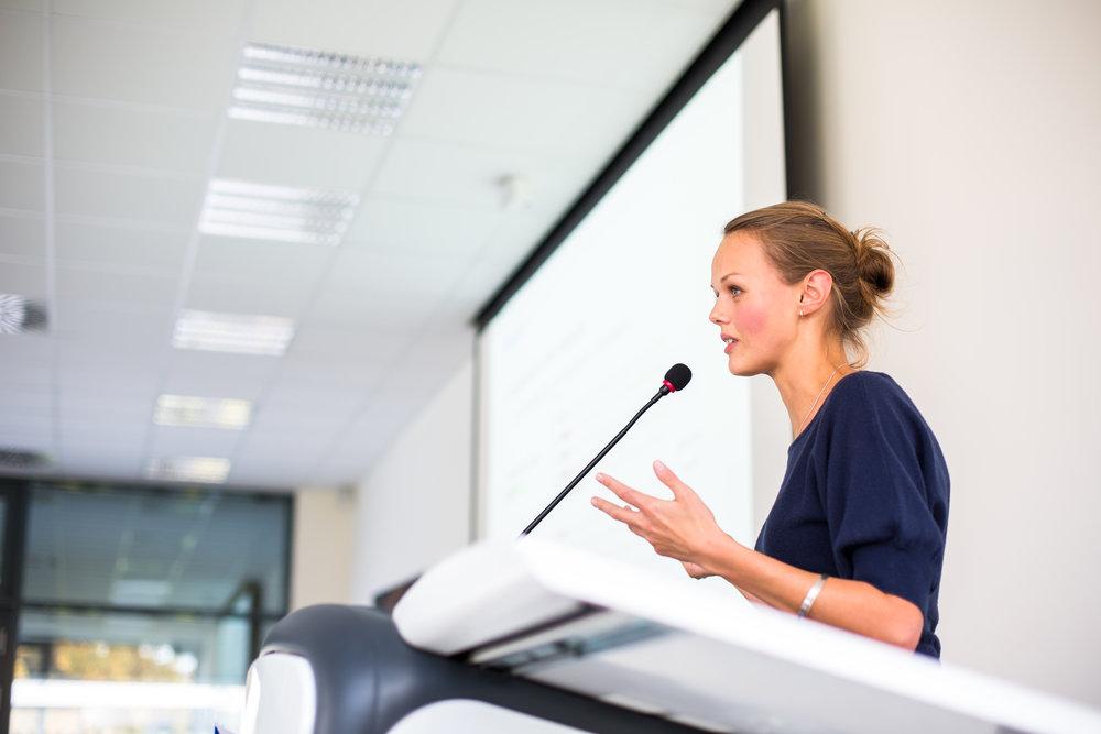 Assertive woman speaking