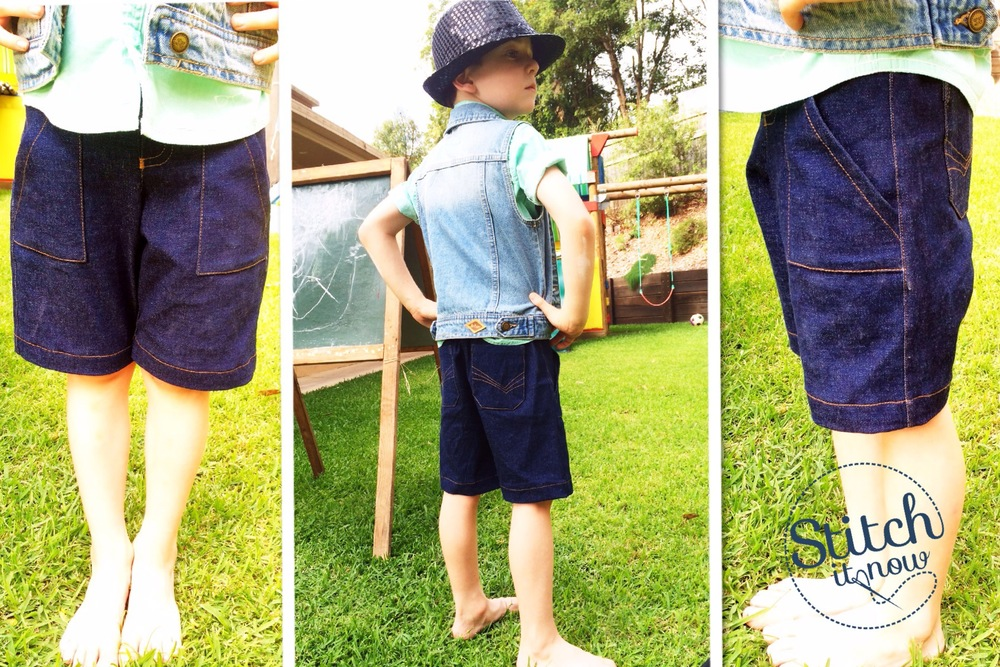 The Run Jump Hop Skip Shorts made in denim currently available as a pre-cut pack in the Etsy Stitch it Now Shop.