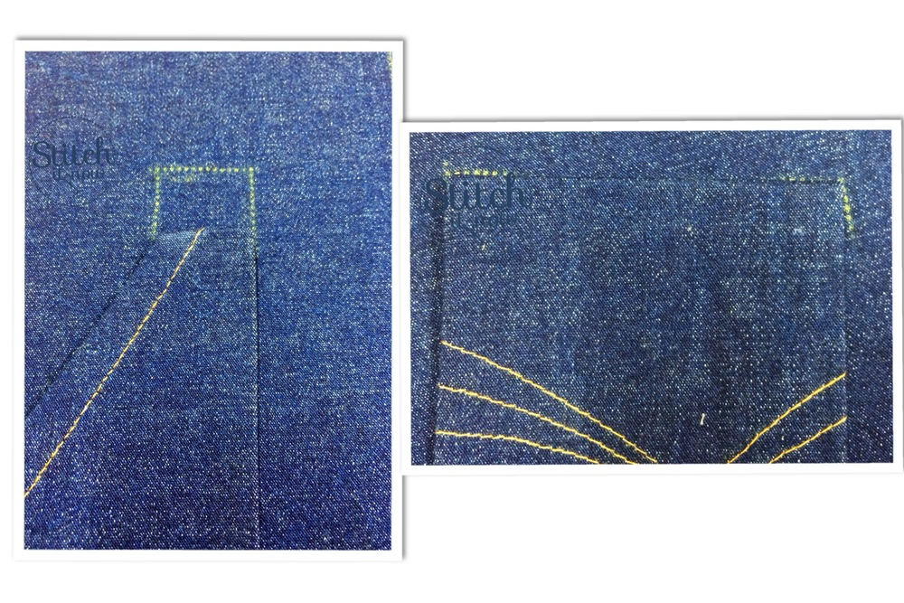 The left photo shows the finished front pocket being aligned with the markings on the short front.  The top of the pocket should slot straight into those markings.  You want the pocket to abutt those markings, so you can't see them.  They should align exactly at the top as the short/pant has a foldover waist and the pockets sit just under the finished waist seam, so make sure you don't attach your pocket higher than this marking.   The right photo is the back pocket.  It has two markings that the back pockets should align too.  If you get the top of the pocket aligned with these points, the bottom of the pocket will be right.  Just pin it in place and sew.