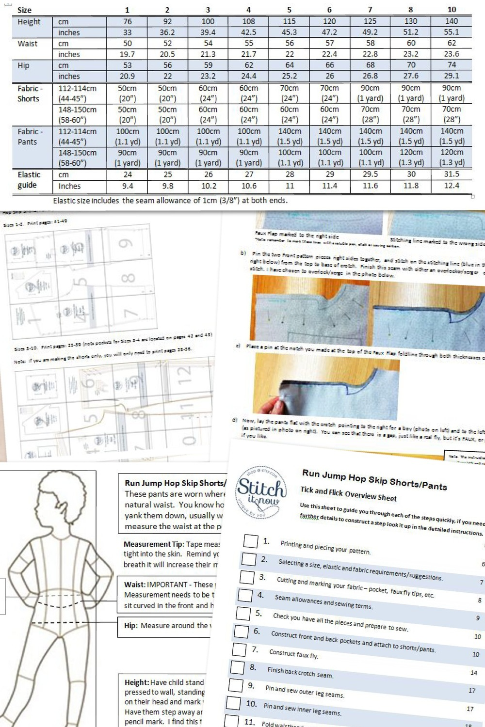 These are just some of the instructions you'll find in the Run Jump Hop Skip Shorts/Pants Pattern.