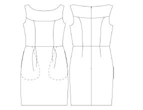 A line drawing of the lovely Marbella Dress - showing all its beautiful design lines.
