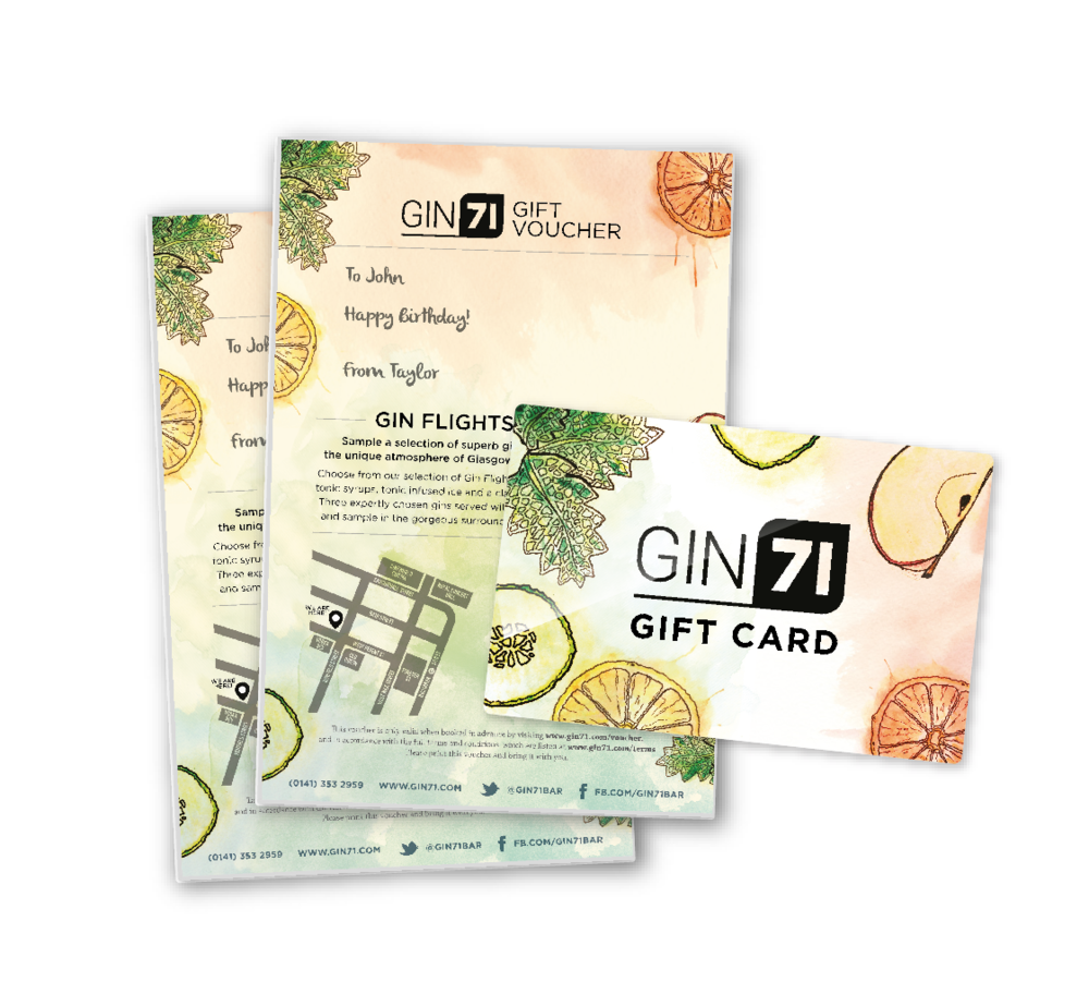 Click for Gin71 Gift Cards, Gin Flight Vouchers and more.