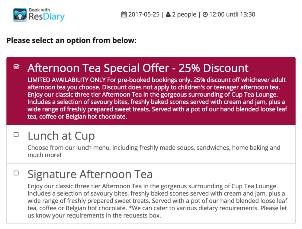 An example of the option required in order to book this promotion.